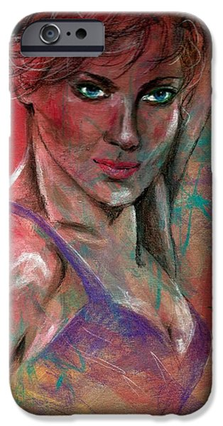 Beautiful Faces Paintings iPhone Cases - Purple Dress iPhone Case by P J Lewis