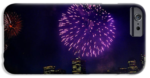 Fireworks iPhone Cases - Purple fireworks over New York City iPhone Case by Diane Lent