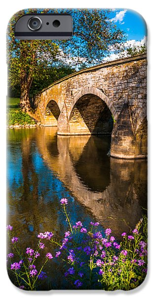 River View Pastels iPhone Cases - Purple flowers and Burnside Bridge reflecting in Antietam Creek at Antietam National Battlefield MD iPhone Case by Jon Bilous