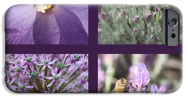 Purple And Green iPhone Cases - Purple Flowers Collage iPhone Case by Carol Groenen