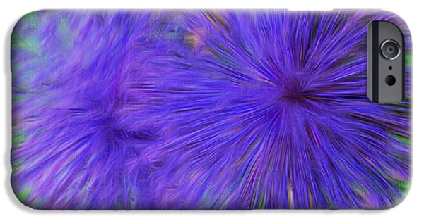 Abstract Digital iPhone Cases - Purple Flowers iPhone Case by Kathleen Struckle