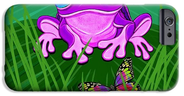 Amphibians Digital Art iPhone Cases - Purple Frog and Rainbow Butterfly iPhone Case by Nick Gustafson
