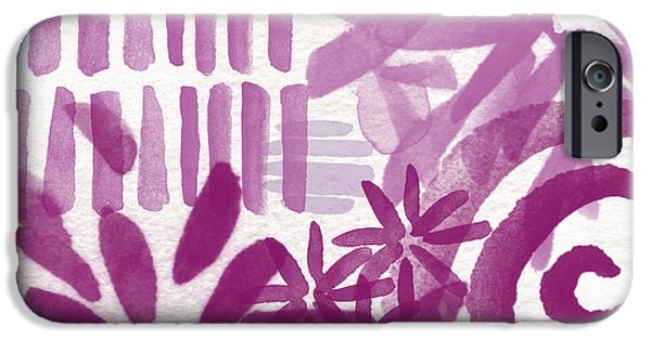 Purple Art iPhone Cases - Purple Garden - Contemporary Abstract Watercolor Painting iPhone Case by Linda Woods