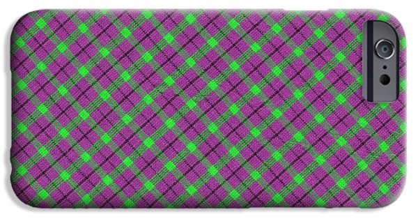 Purple And Green iPhone Cases - Purple Green and Black Diagonal Plaid Fabric Background iPhone Case by Keith Webber Jr