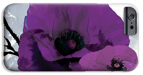 Florals iPhone Cases - Purple Grey Poppy B iPhone Case by Grace Pullen