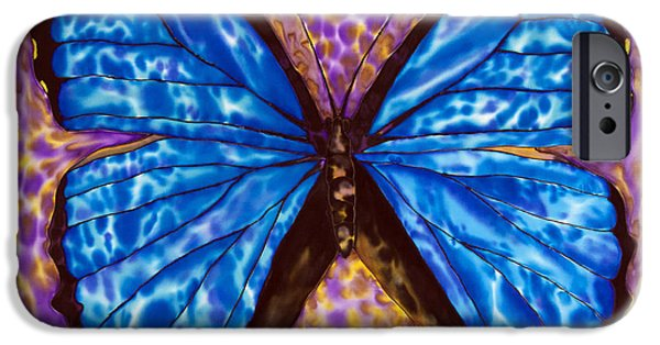 Insects Tapestries - Textiles iPhone Cases - Blue  Morpho Butterfly iPhone Case by Daniel Jean-Baptiste