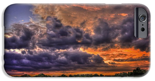Hayfield iPhone Cases - Purple Haze Clouds at Sunset Over the Hayfield iPhone Case by Reid Callaway