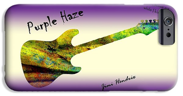Johnny Allen Hendrix iPhone Cases - Purple Haze Scuse Me While I Kiss the Sky Hendrix iPhone Case by David Dehner
