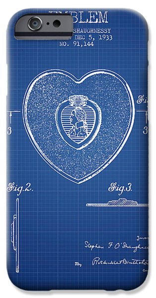 Honor iPhone Cases - Purple Heart Patent from 1933 - Blueprint iPhone Case by Aged Pixel