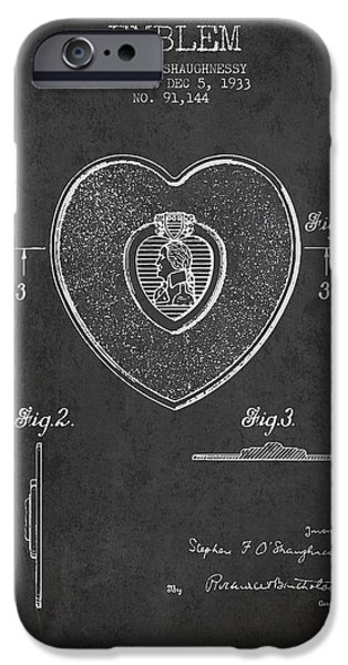 Honor iPhone Cases - Purple Heart Patent from 1933 - Charcoal iPhone Case by Aged Pixel
