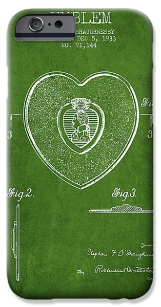 Honor iPhone Cases - Purple Heart Patent from 1933 - Green iPhone Case by Aged Pixel