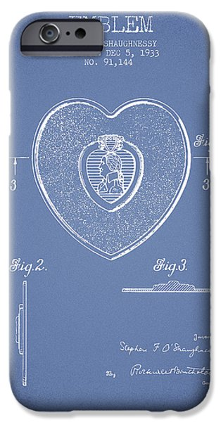 Honor iPhone Cases - Purple Heart Patent from 1933 - Light Blue iPhone Case by Aged Pixel