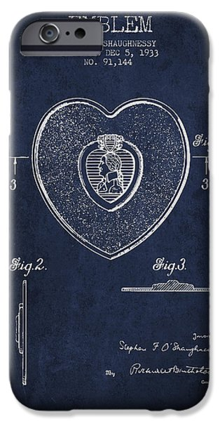 Honor iPhone Cases - Purple Heart Patent from 1933 - Navy Blue iPhone Case by Aged Pixel