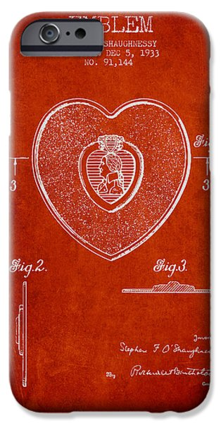 Honor iPhone Cases - Purple Heart Patent from 1933 - Red iPhone Case by Aged Pixel