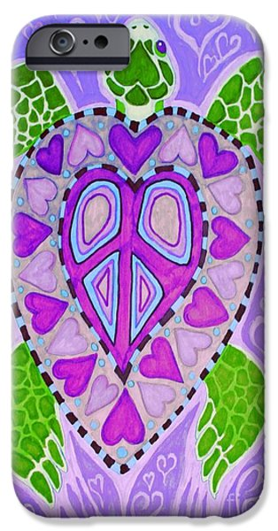 Reptiles Drawings iPhone Cases - Purple Heart Turtle iPhone Case by Nick Gustafson