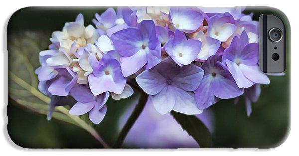 Purple Hydrangeas iPhone Cases - Purple Hydrangea Flower Bouquet iPhone Case by Jennie Marie Schell