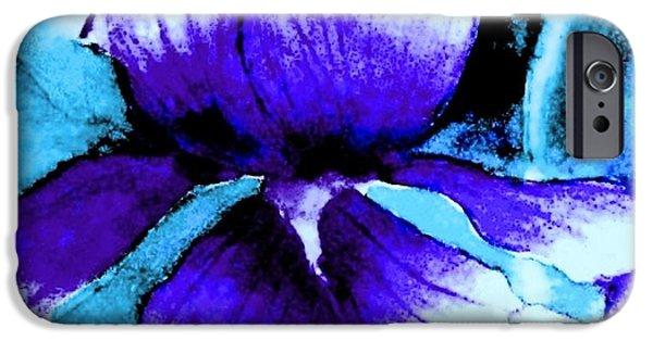 Garden Scene Paintings iPhone Cases - Purple Iris iPhone Case by Hazel Holland