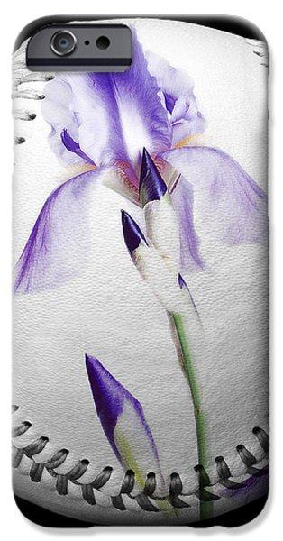 Purple Iris High Key Baseball Square iPhone Case by Andee Design