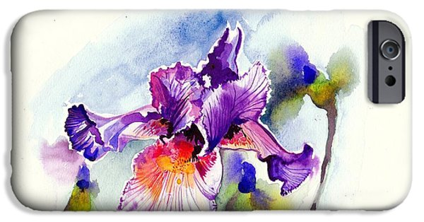 Con iPhone Cases - Purple Iris with Buds Watercolor iPhone Case by Tiberiu Soos