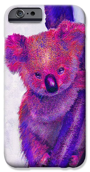 Koala Digital Art iPhone Cases - Purple Koala iPhone Case by Jane Schnetlage