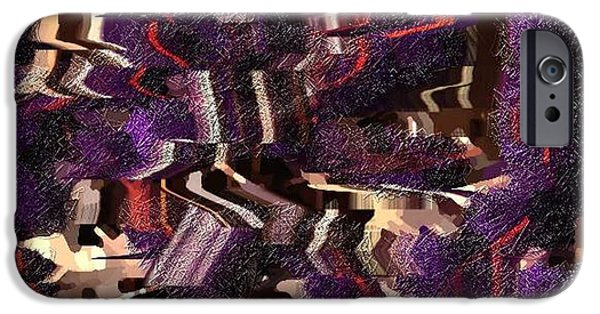 Textured Tapestries - Textiles iPhone Cases - Purple Layer iPhone Case by Claire Masters