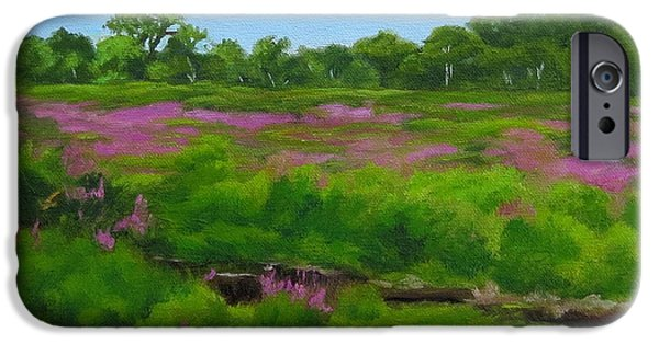Charles River iPhone Cases - Purple Loosestrife Medfield MA iPhone Case by Rosemarie Morelli