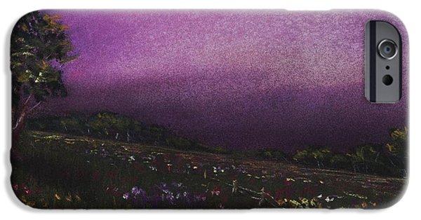 Garden Scene Pastels iPhone Cases - Purple Meadow iPhone Case by Anastasiya Malakhova