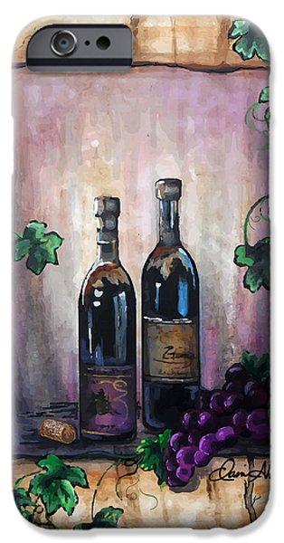 Red Wine Prints iPhone Cases - Purple Memories iPhone Case by Danise Abbott