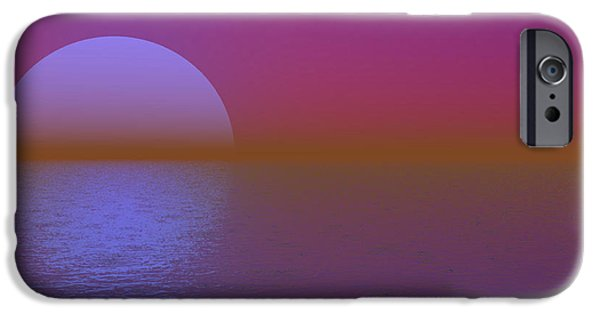 Moonscape iPhone Cases - Purple Moon Seascape iPhone Case by Barbara Milton