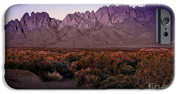 Las Cruces Digital Art iPhone Cases - Purple Mountain Majesties iPhone Case by Barbara Chichester