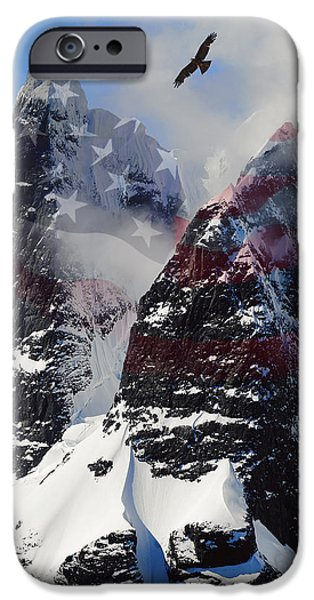 Old Glory Mixed Media iPhone Cases - Purple Mountain Majesties iPhone Case by Daniel Hagerman