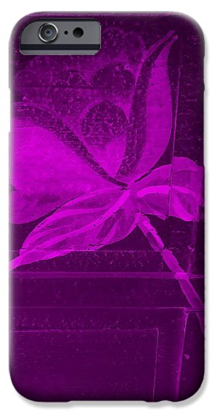 Botanic Illustration Digital Art iPhone Cases - Purple Negative Wood Flower iPhone Case by Rob Hans