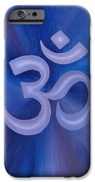 Breathing Paintings iPhone Cases - Purple Om  iPhone Case by Michelle Eshleman