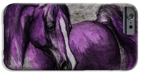 Mammals Drawings iPhone Cases - Purple One iPhone Case by Angel  Tarantella