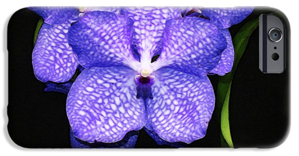 Flower Design Photographs iPhone Cases - Purple Orchids - Flower Art By Sharon Cummings iPhone Case by Sharon Cummings