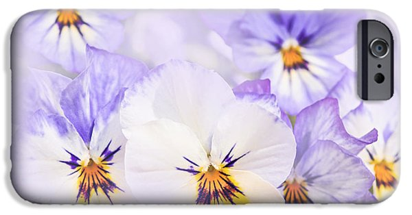 Violet Photographs iPhone Cases - Purple Pansies iPhone Case by Elena Elisseeva