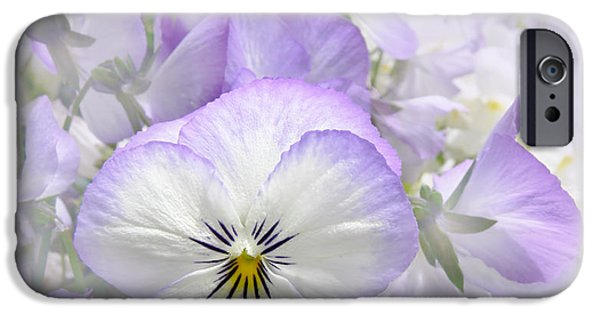 Pansy iPhone Cases - Purple Pansy Flowers iPhone Case by Jennie Marie Schell