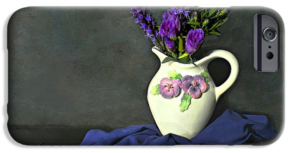 Still Life With Pitcher iPhone Cases - Purple Pardon iPhone Case by Diana Angstadt
