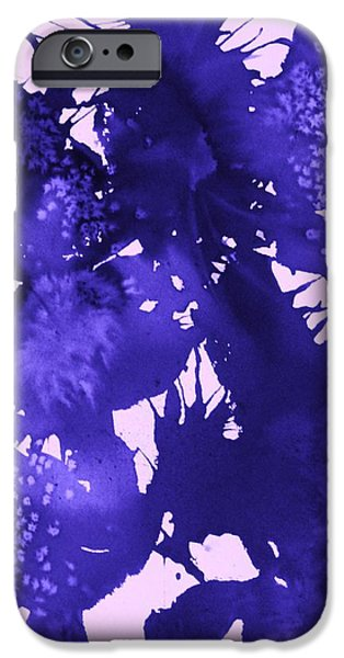 Splashy Paintings iPhone Cases - Purple Passion iPhone Case by Ellen Levinson