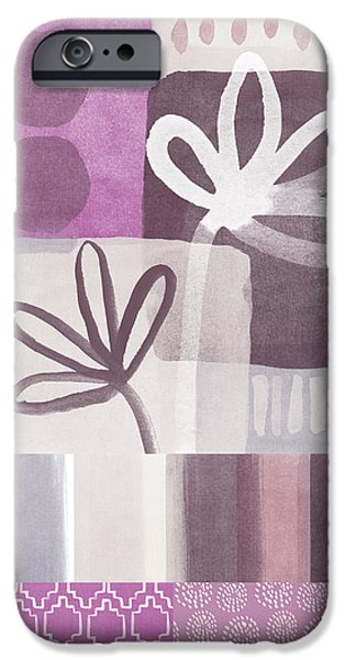 Purple Prints iPhone Cases - Purple Patchwork- contemporary art iPhone Case by Linda Woods