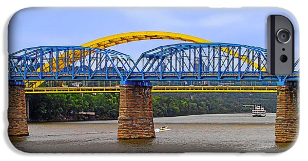 Christine Till iPhone Cases - Purple People Bridge and Big Mac Bridge - Ohio River Cincinnati iPhone Case by Christine Till