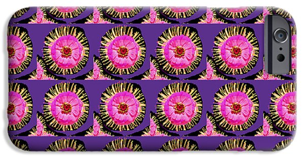 Etc. Mixed Media iPhone Cases - Purple Pink Flower Pattern decoration Background Designs  and Color Tones n Color Shades available f iPhone Case by Navin Joshi