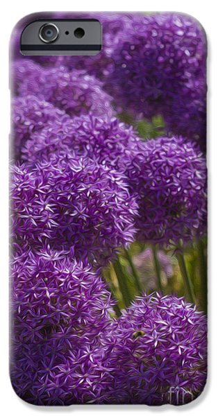 Summer iPhone Cases - Purple Pompoms iPhone Case by Clare Bambers