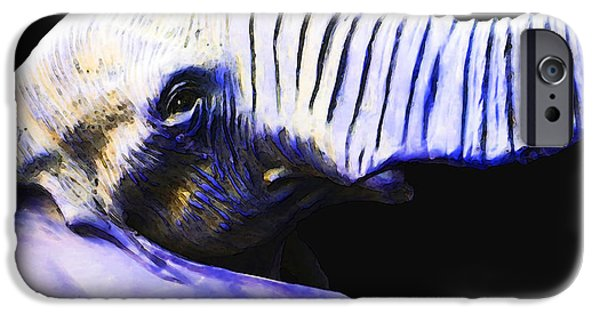 Safari Prints iPhone Cases - Purple Rein - Vibrant Elephant Head Shot Art iPhone Case by Sharon Cummings