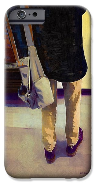 Figure iPhone Cases - Purple Shoes at the Museum iPhone Case by RC deWinter