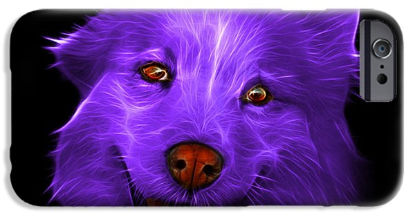 Mixed Labrador Retriever Paintings iPhone Cases - Purple Siberian Husky Mix Dog Pop Art - 5060 BB iPhone Case by James Ahn