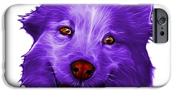 Mixed Labrador Retriever Paintings iPhone Cases - Purple Siberian Husky Mix Dog Pop Art - 5060 WB iPhone Case by James Ahn
