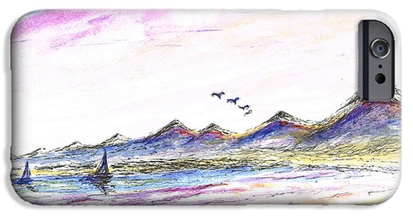 Flying Seagull Mixed Media iPhone Cases - Purple Skies iPhone Case by Teresa White