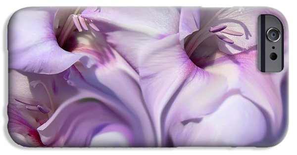 Gladiolas iPhone Cases - Purple Swirl Abstract Gladiolas  iPhone Case by Jennie Marie Schell