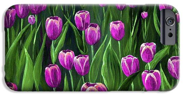 Love Digital Art iPhone Cases - Purple Tulip Field iPhone Case by Anastasiya Malakhova